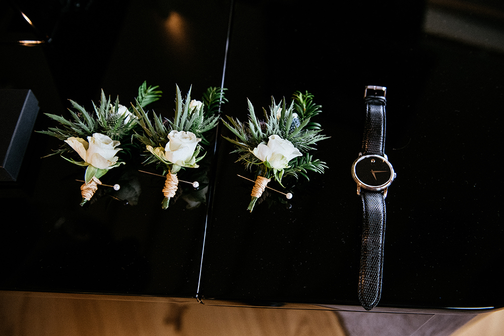 buttonholes and watch - The Lodge at Carrick Castle Estate wedding