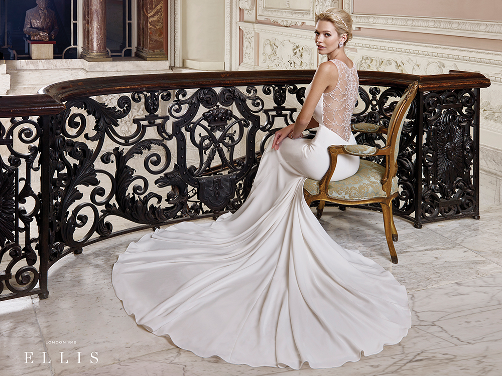 Ellis Bridals fit-and-flare gown with illusion back