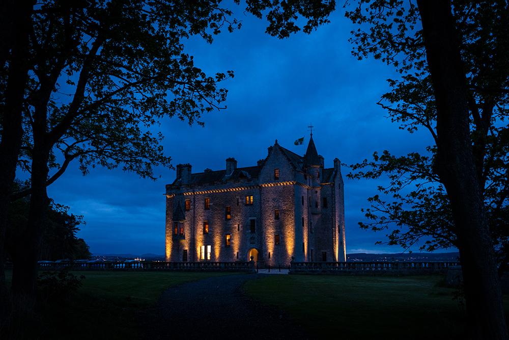 Barnbougle Castle wedding venue at night