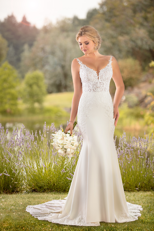 Essense of Australia crepe wedding dress with shaped chain