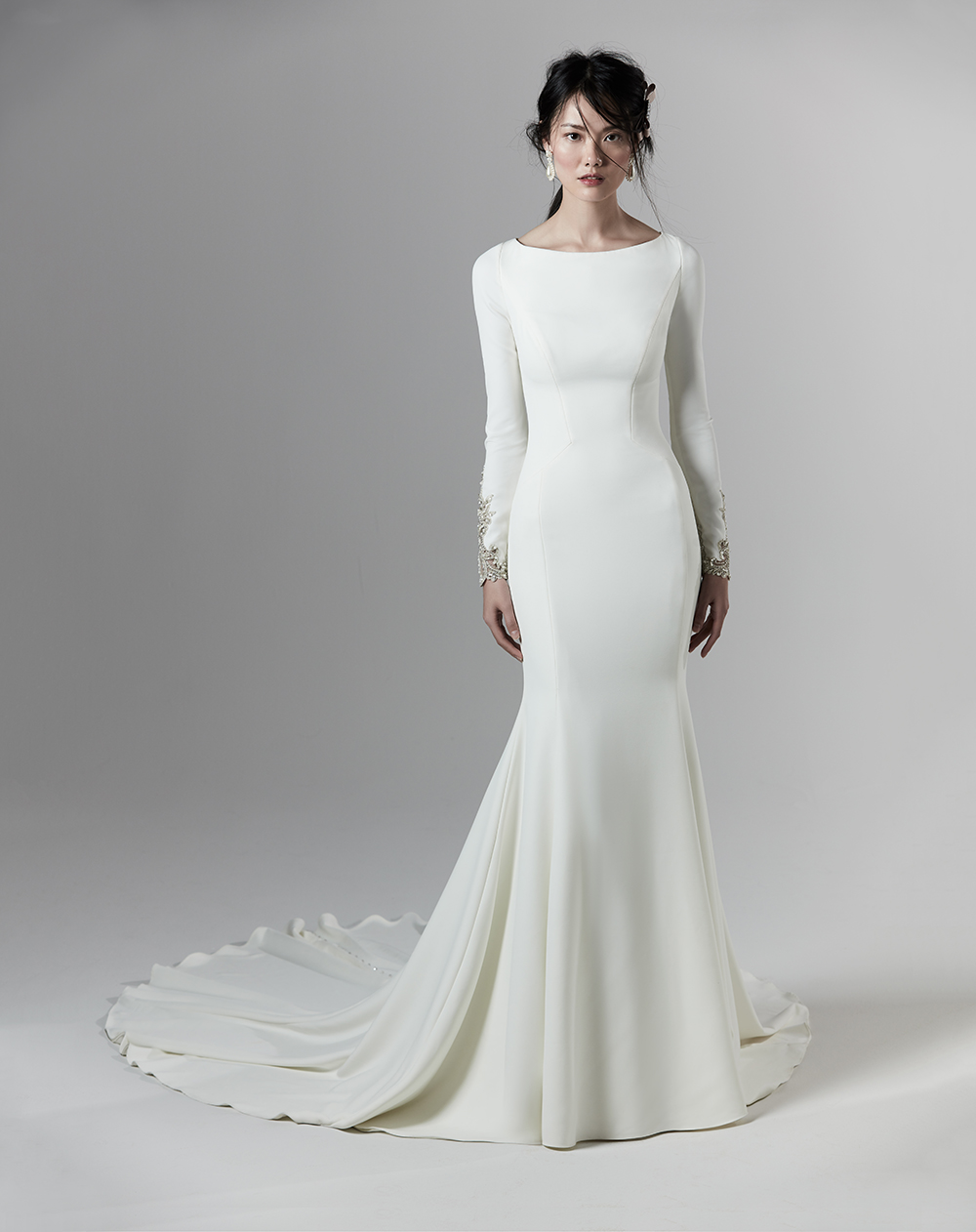 Sottero and Midgely crepe fit and flare dress