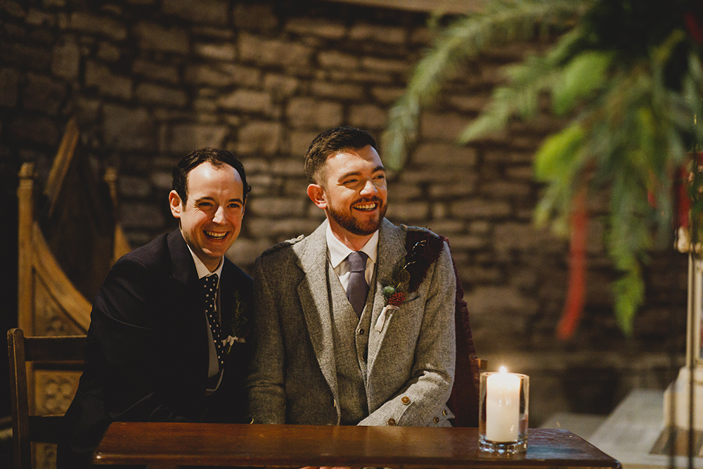 ceremony - autumnal wedding at Drumtochty Castle by Duke Wedding Photography