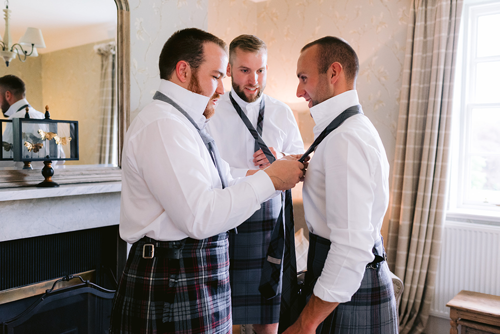 getting ready - James Kelly wedding at Ballogie House