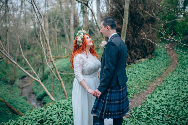 Featured Image for Scottish castle elopement with boho-inspired dress at Dalhousie Castle, Edinburgh