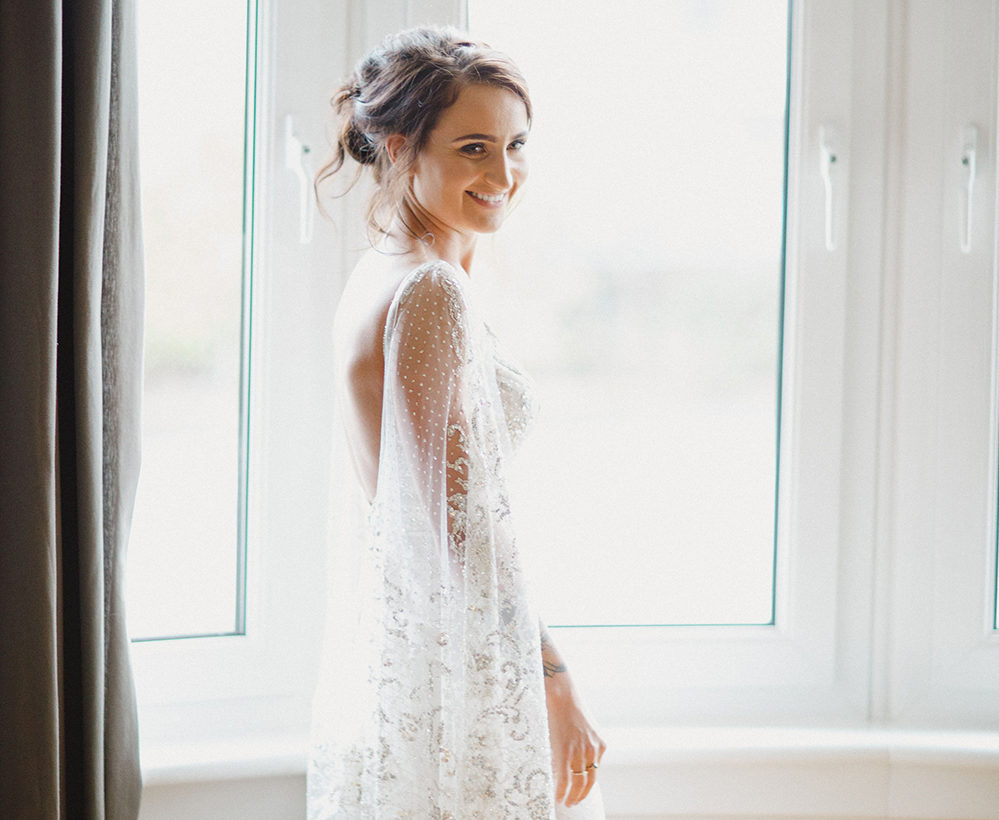 Featured Image for Dress Stories: Faye's embellished Galia Lahav caped slip dress