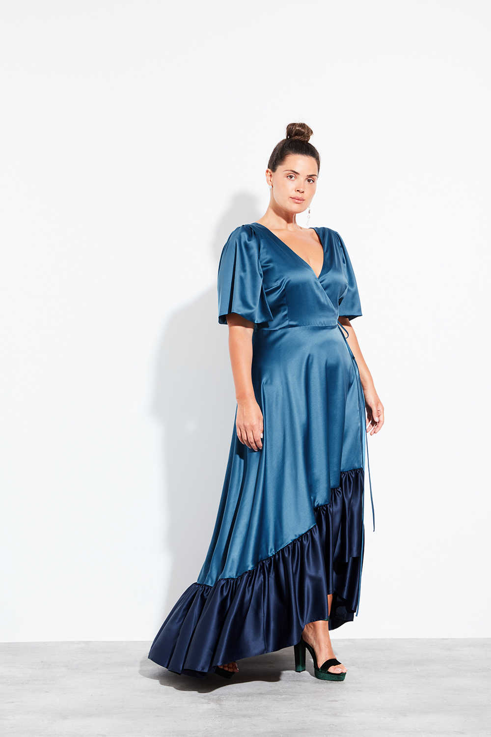 Halfpenny London Sister Bridesmaid Collection Fox Dress in Navy Teal with Sleeves