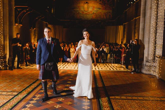 Featured Image for Festive burgundy + gold wedding at Mansfield Traquair, Edinburgh