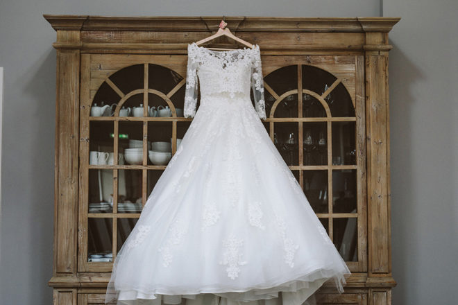 Featured Image for Dress Stories: Jess' beautiful Ronald Joyce gown with off-the-shoulder lace top