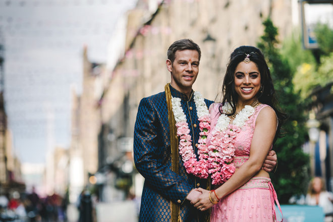 Featured Image for Dress Stories: Avani's stunning pearled Morilee gown + traditional Indian lengha