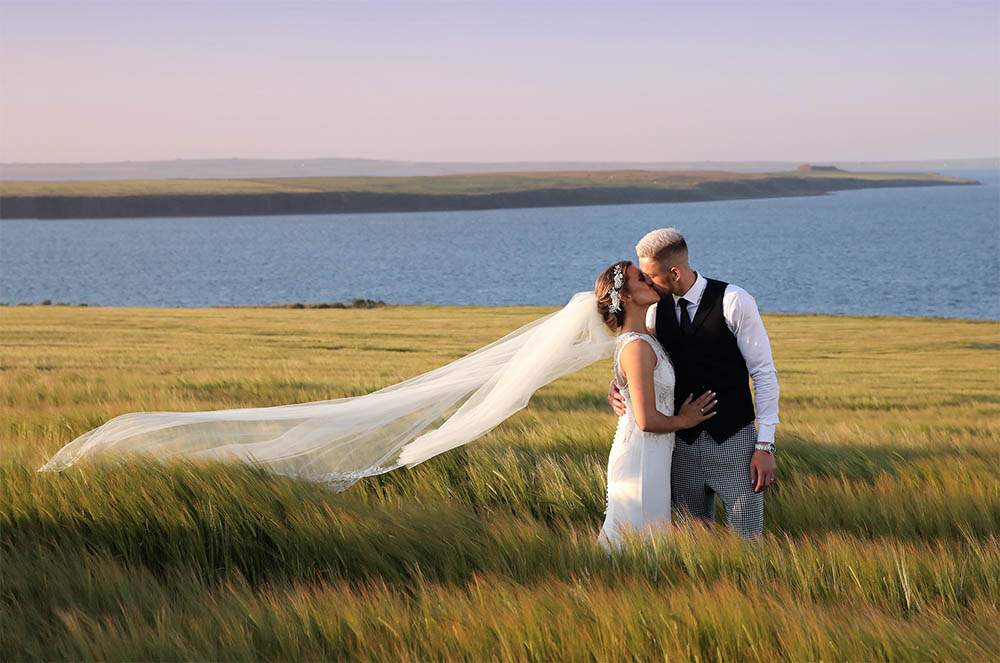 Orkney wedding with white, gold and greenery theme