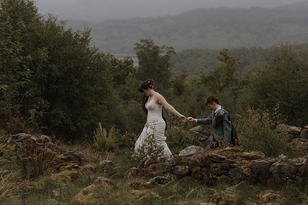 Scottish Elopement at Bluebell Wood in Glen Finglas Loch Lomond
