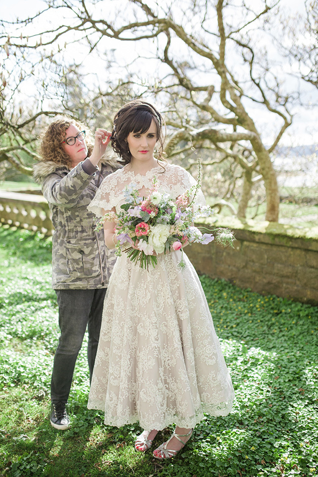 Lesley working with a bride