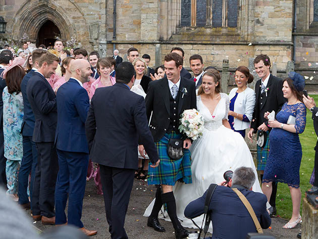 10/04/15 Sunday Post Dunblane Mr and Mrs Murray During the Wedding of Kim Sears and Andy Murray at Dunblane Cathedral