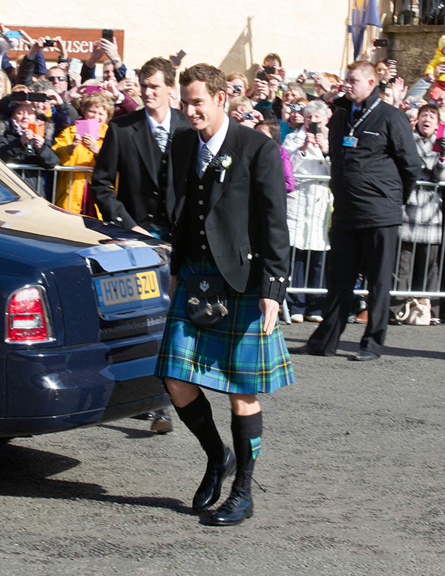 10/04/15 Sunday Post Dunblane Andy Murray arrives for wedding During the Wedding of Kim Sears and Andy Murray at Dunblane Cathedral