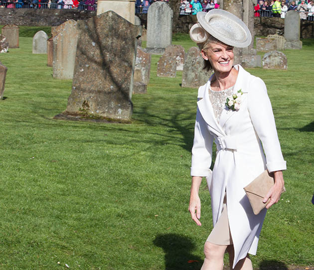 10/04/15 Sunday Post Dunblane Judy Murray arrives During the Wedding of Kim Sears and Andy Murray at Dunblane Cathedral