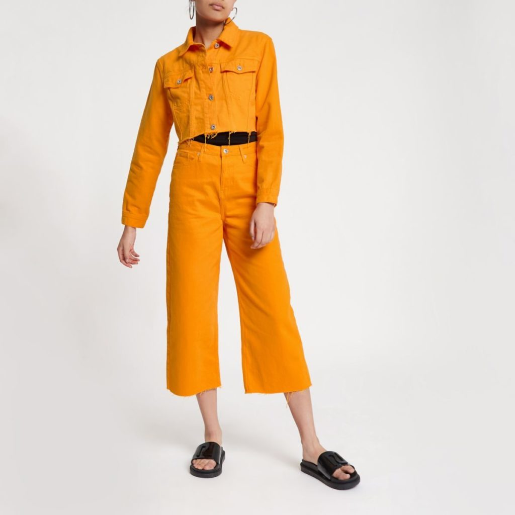 orange denim jacket jeans