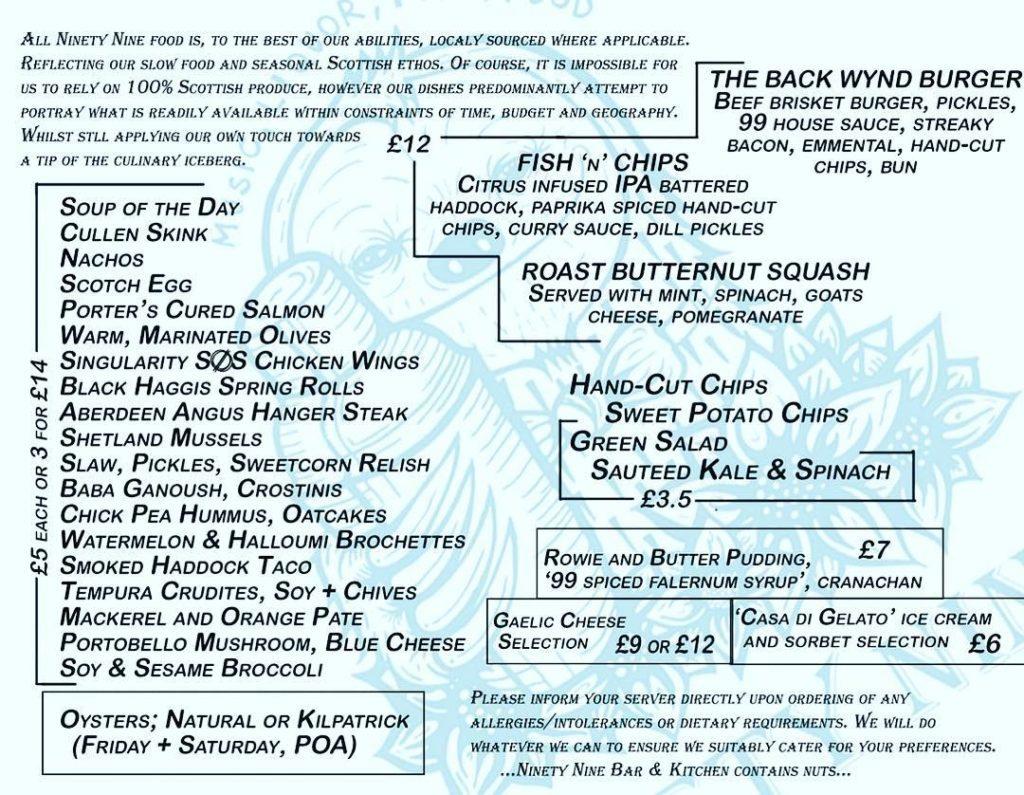 99 Bar & Kitchen's new menu