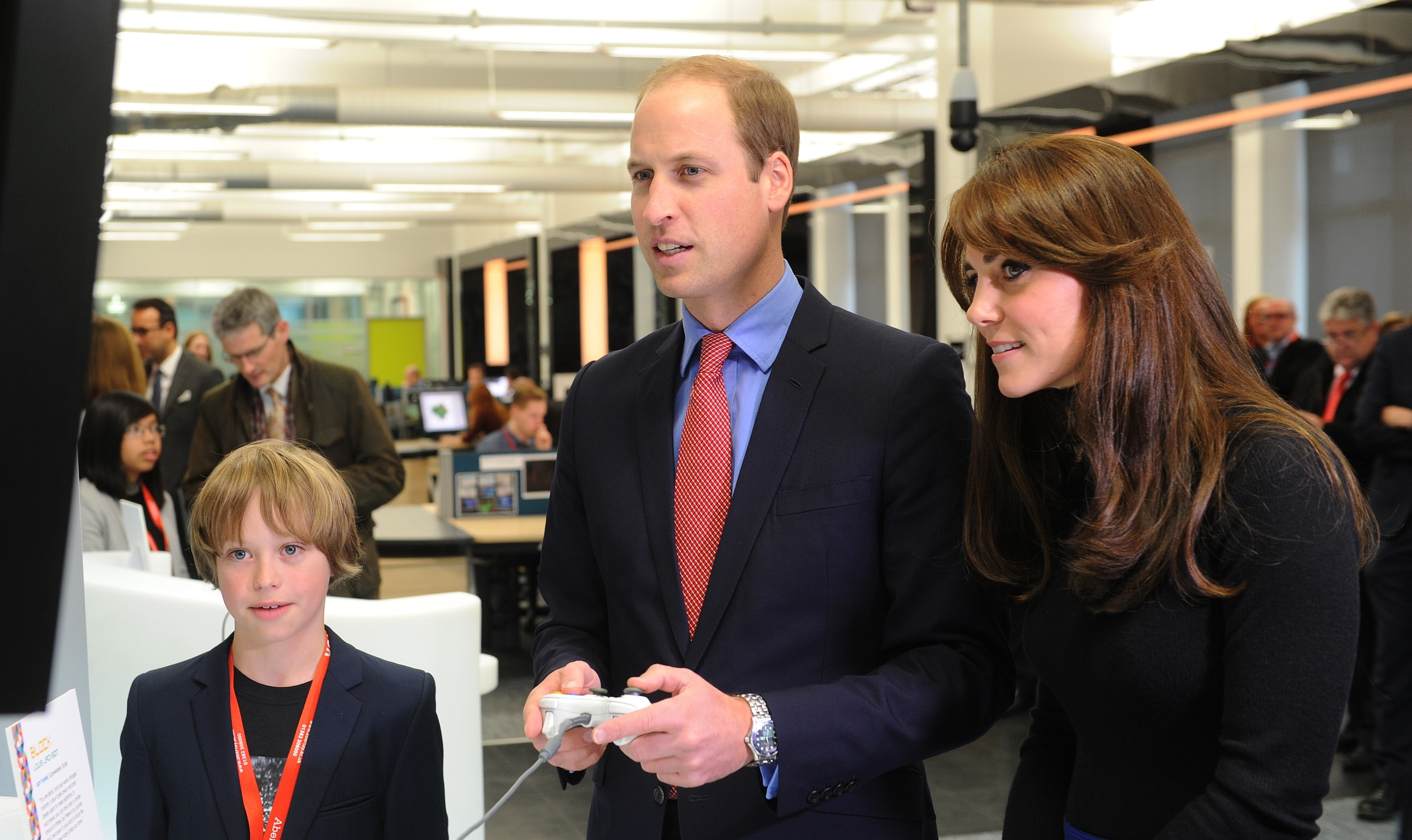 William, Kate and young games designer Louis Jackson (DC Thomson)