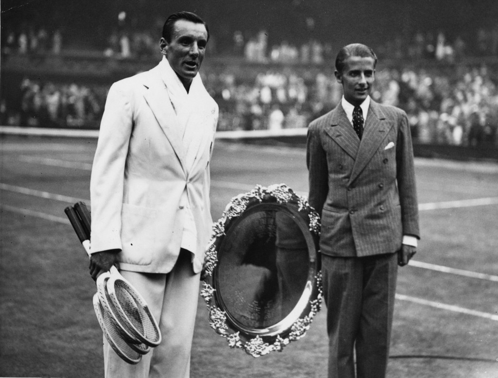 Fred Perry and Bunny Austin with the Davis Cup shield at Wimbledon. (Francis M. R. Hudson/Topical Press Agency/Getty Images)