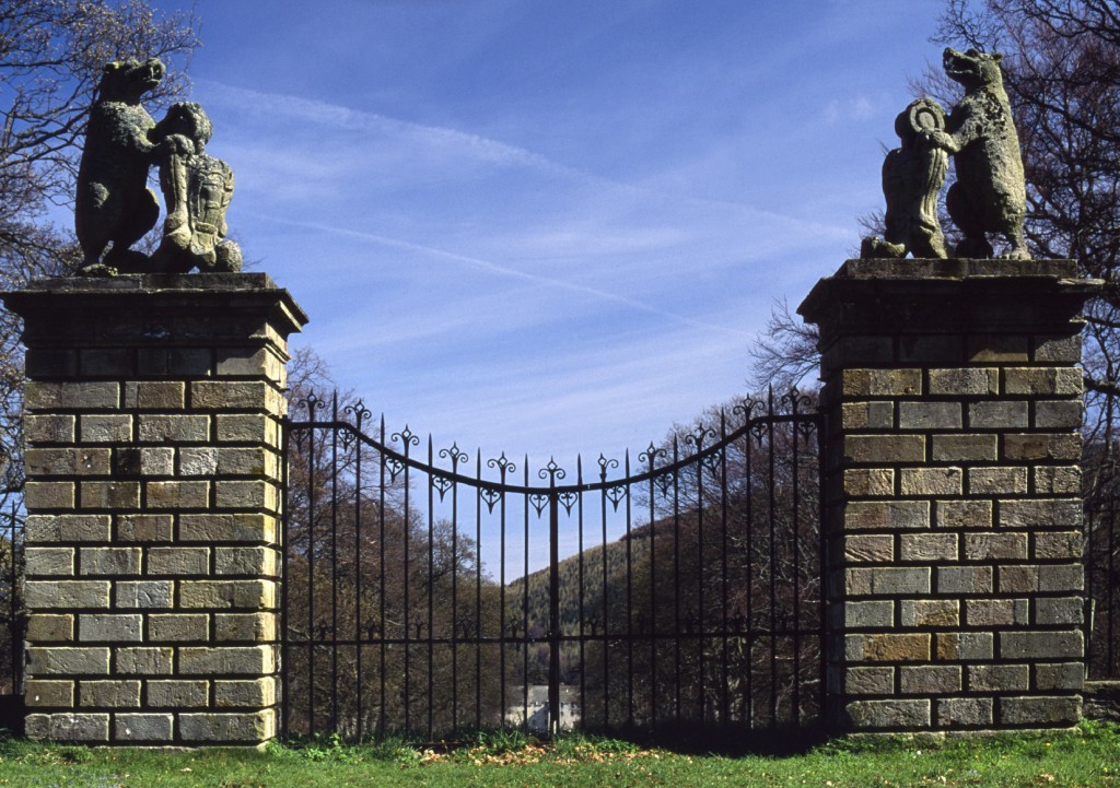 Sir Walter Scott Way - Starting in Moffat and ending in Cocksburnpath in East Lothian, there are numerous places linked to the writer along the six sections. Pictured above is the Bear Gates at Traquiar House, which you can see on this tour (Getty Images)