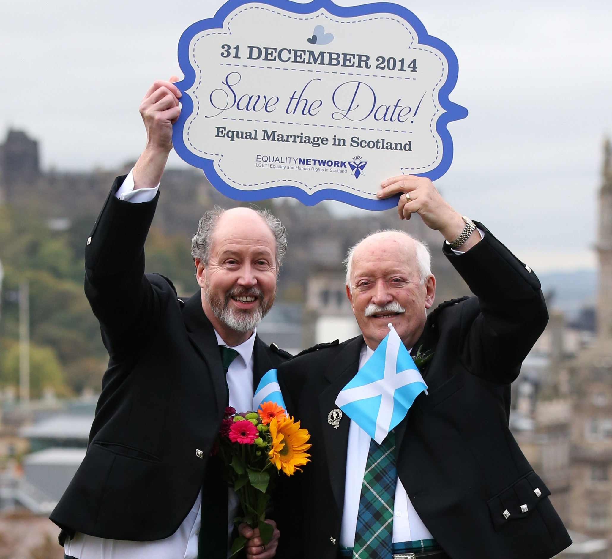 Jerry Slater (left), 58, with his partner Larry Lamont, 81, from Kirkcudbright, after the legislation was passed (PA Wire)
