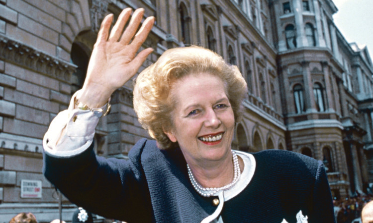 British Prime Minister Margaret Thatcher outside 10 Downing Street, London, on general election day, 11th June 1987