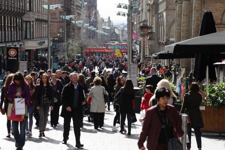 Buchanan Street in Glasgow city centre, Scotland, UK