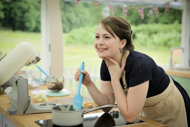 Flora in the Bake Off Kitchen (Love Productions)