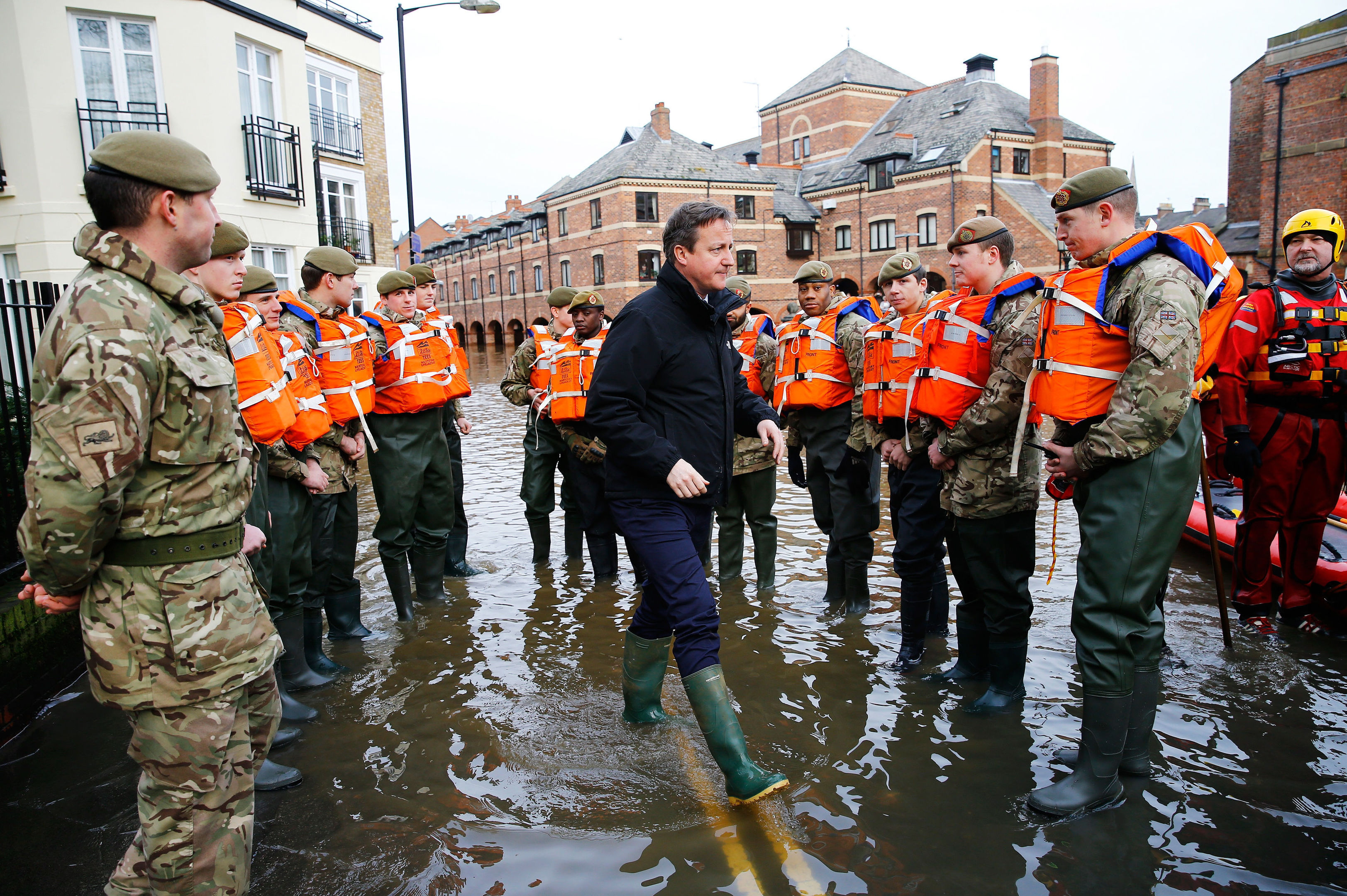David Cameron meets soldiers working on flood relief in York (Darren Staples/PA Wire)