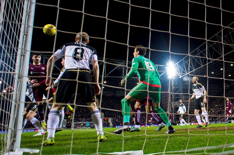 Hearts' Callum Paterson (left) opens the scoring for the home side (SNS Group)