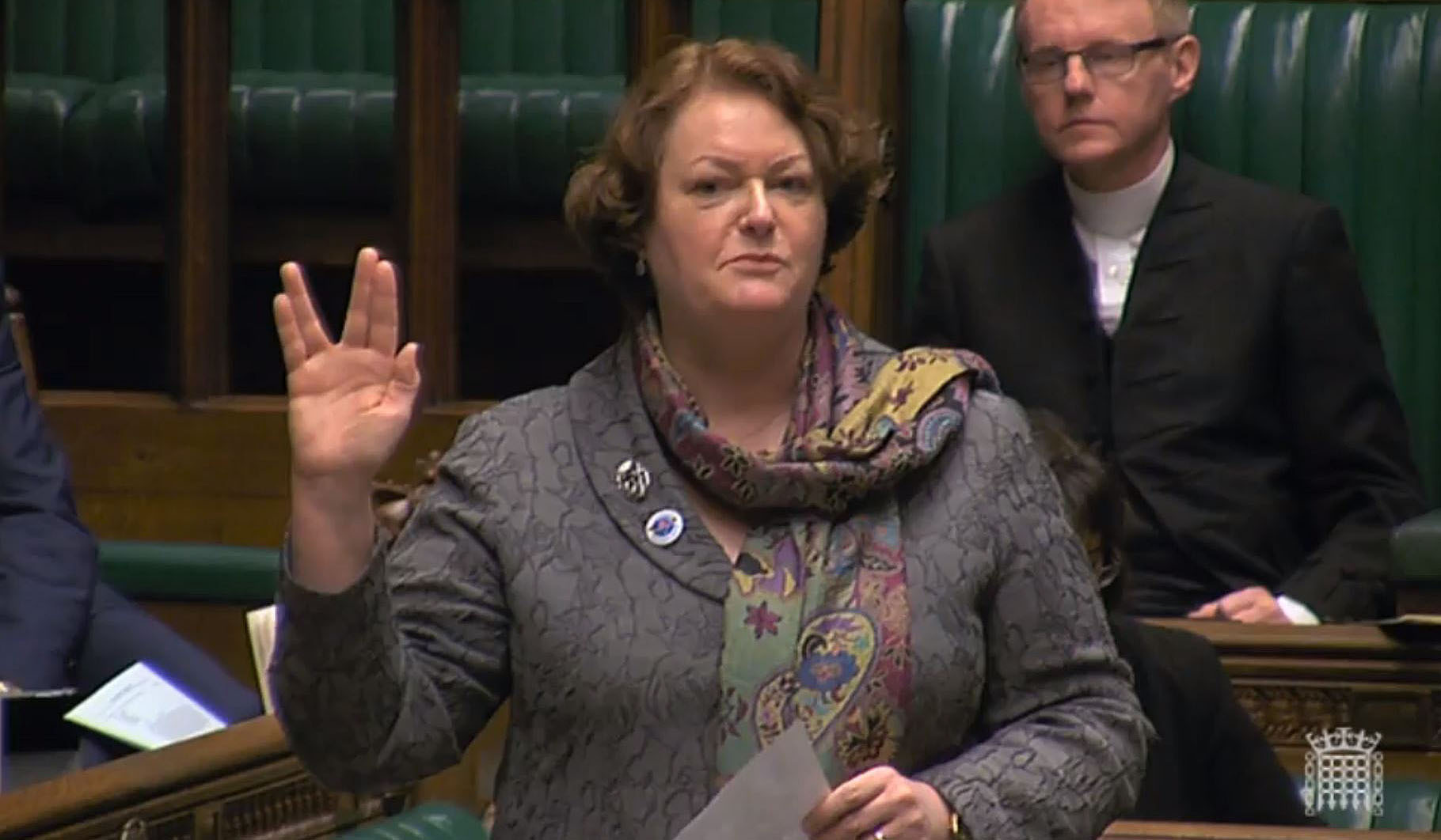 SNP MP Philippa Whitford does a Vulcan salute in the House of Commons, during a space debate (PA Wire)