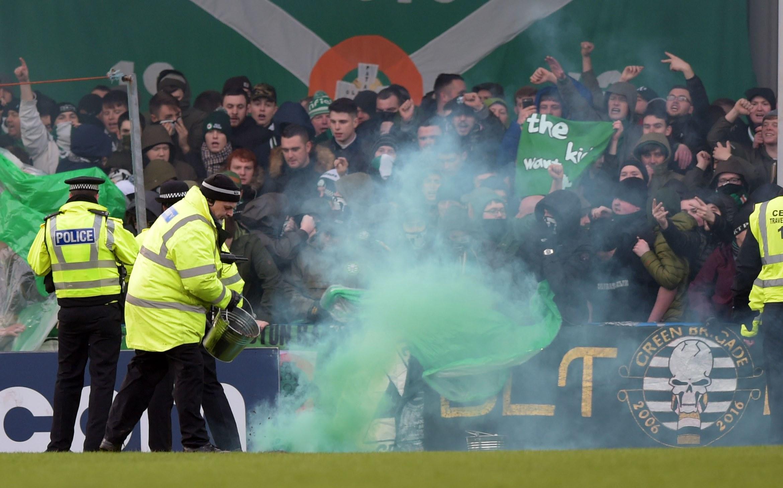 Irresponsible Celtic fans let off flares at Stranraer last weekend. (SNS Group)