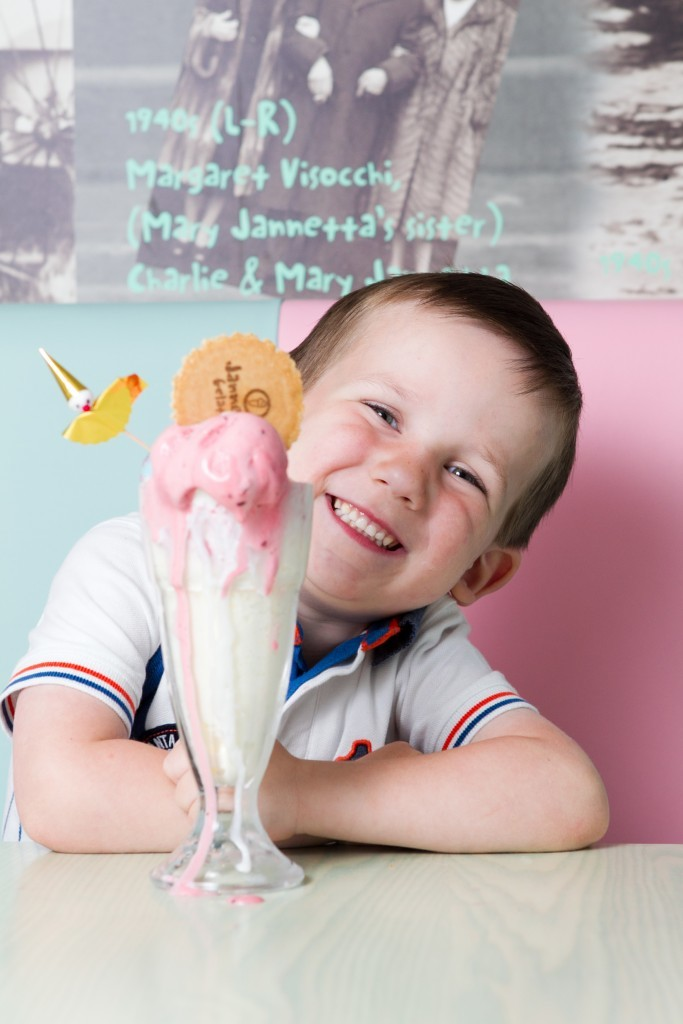 Olly Brown (4) enjoying an ice cream sundae at the shop (Andrew Cawley / DC Thomson)