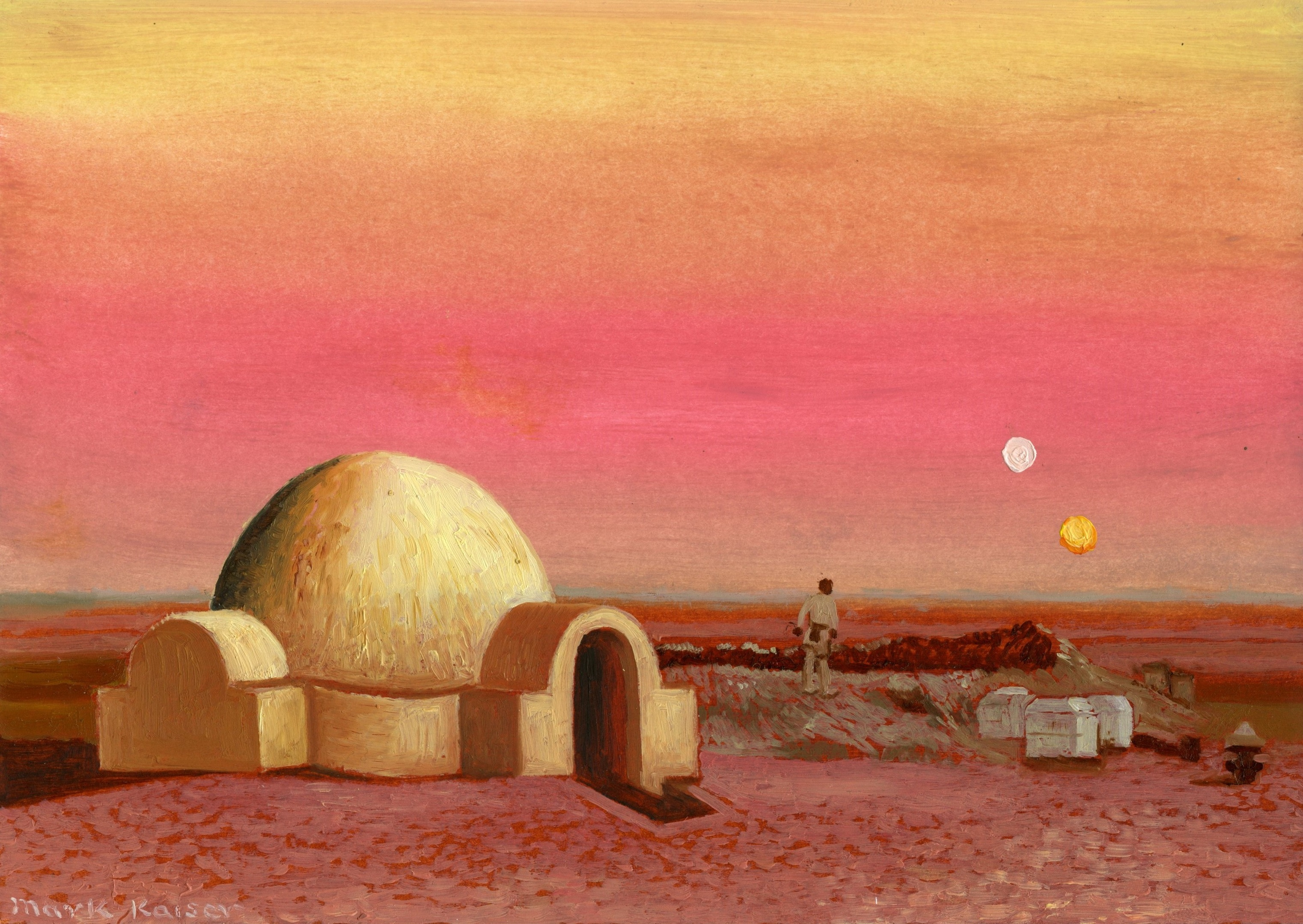 """Artist Mark Kaiser added a touch of class with his Star Wars-themed """"doodle""""."""