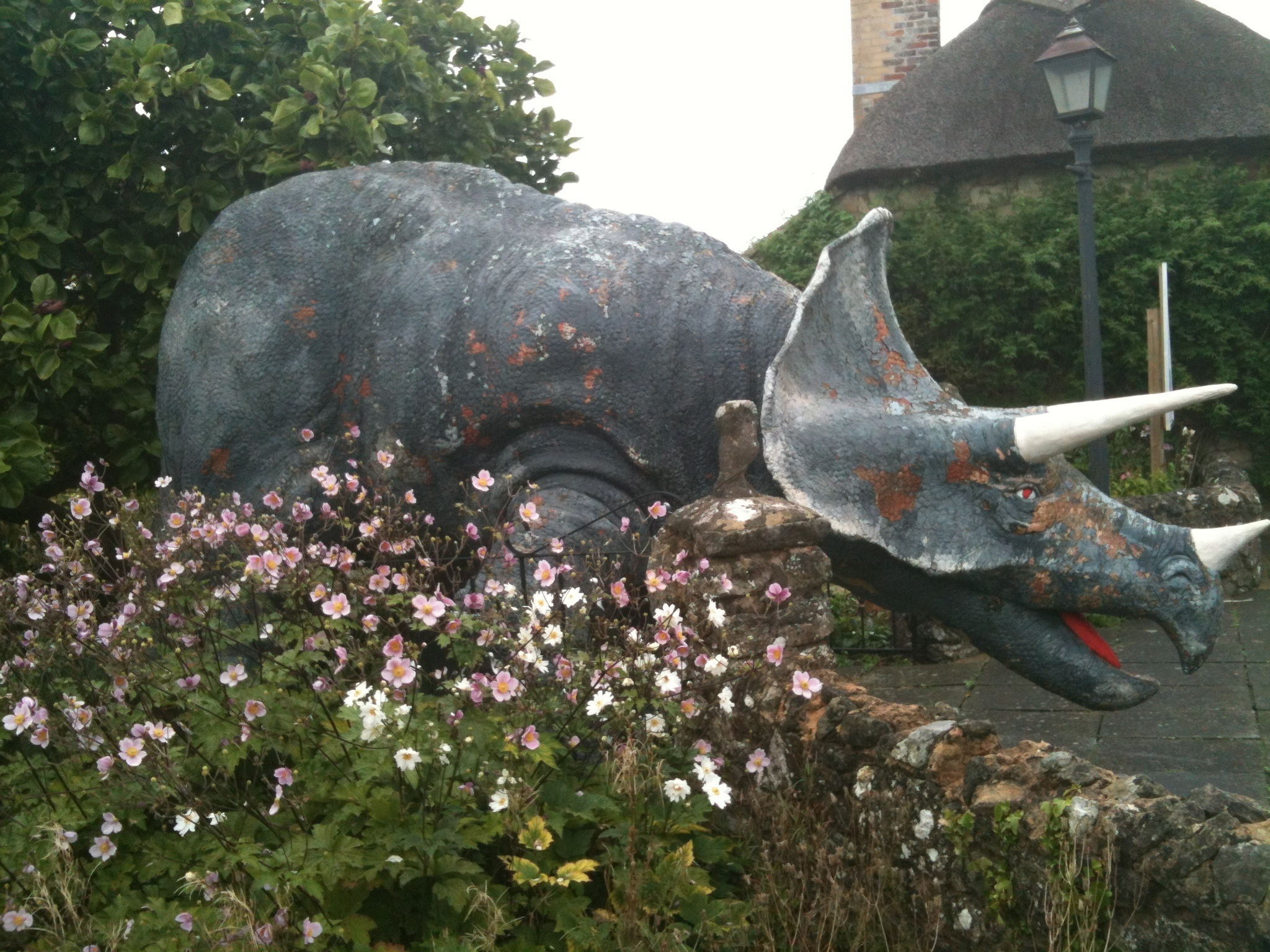 The life-size dinosaur model of a 25ft triceratops that was found in the High Street (Island Gems/PA Wire)
