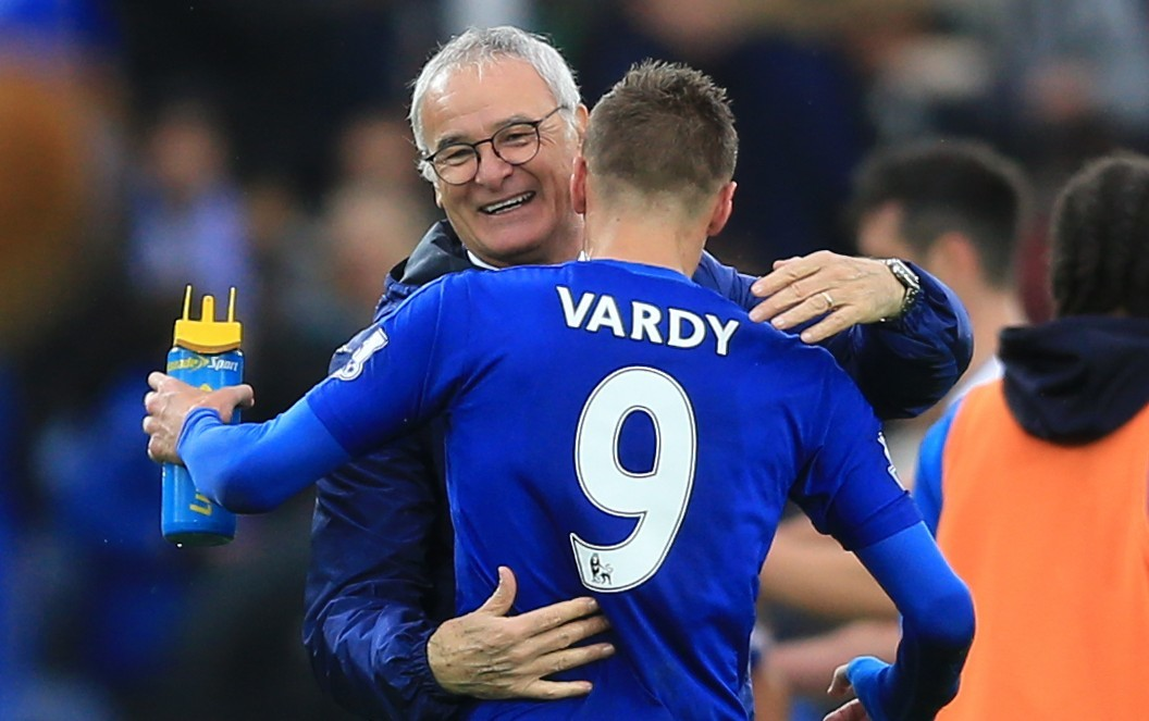 Leicester City manager Claudio Ranieri celebrates with Jamie Vardy (Nigel French/PA Wire)