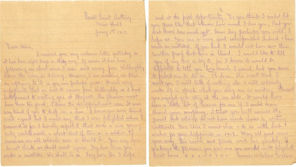 A letter written by Gunner W Robson to Alice Skinner (Imperial War Museum/PA Wire)