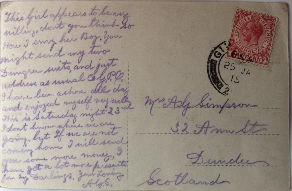 Postcard from Alexander Simpson to his wife Maggie Ann in Dundee (Malcolm Robertson/PA Wire)