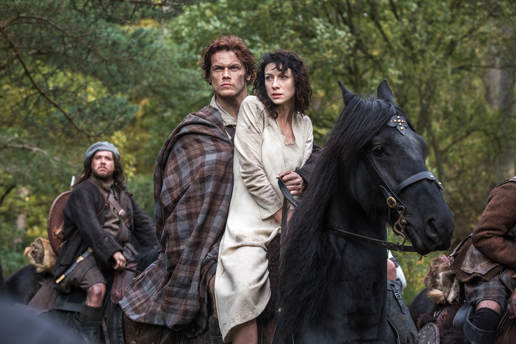 Caitriona Balfe and Sam Heughan in Outlander (AP Photo/Sony Pictures Television, Ed Miller, File)