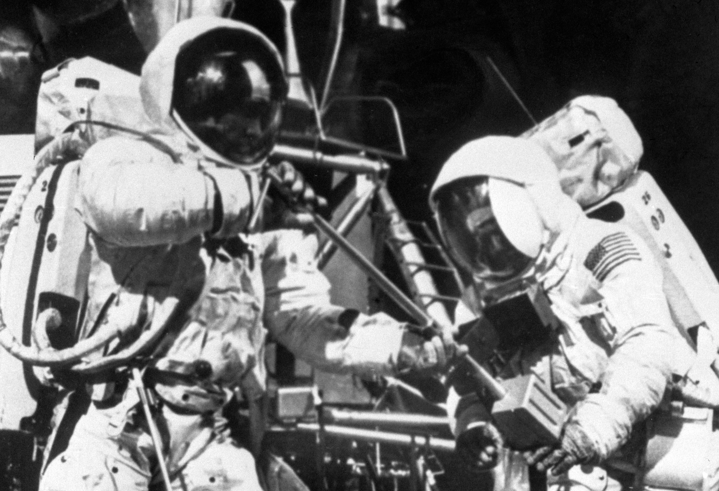 """Neil Armstrong, left, and Edwin """"Buzz"""" Aldrin, on the lunar surface (PA Archive)"""
