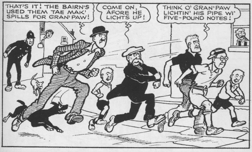 1949 Broons Boys – Horace's backwards cap, Hen's suit, and Joe's shirt and trousers are subtle differences from today's depiction.