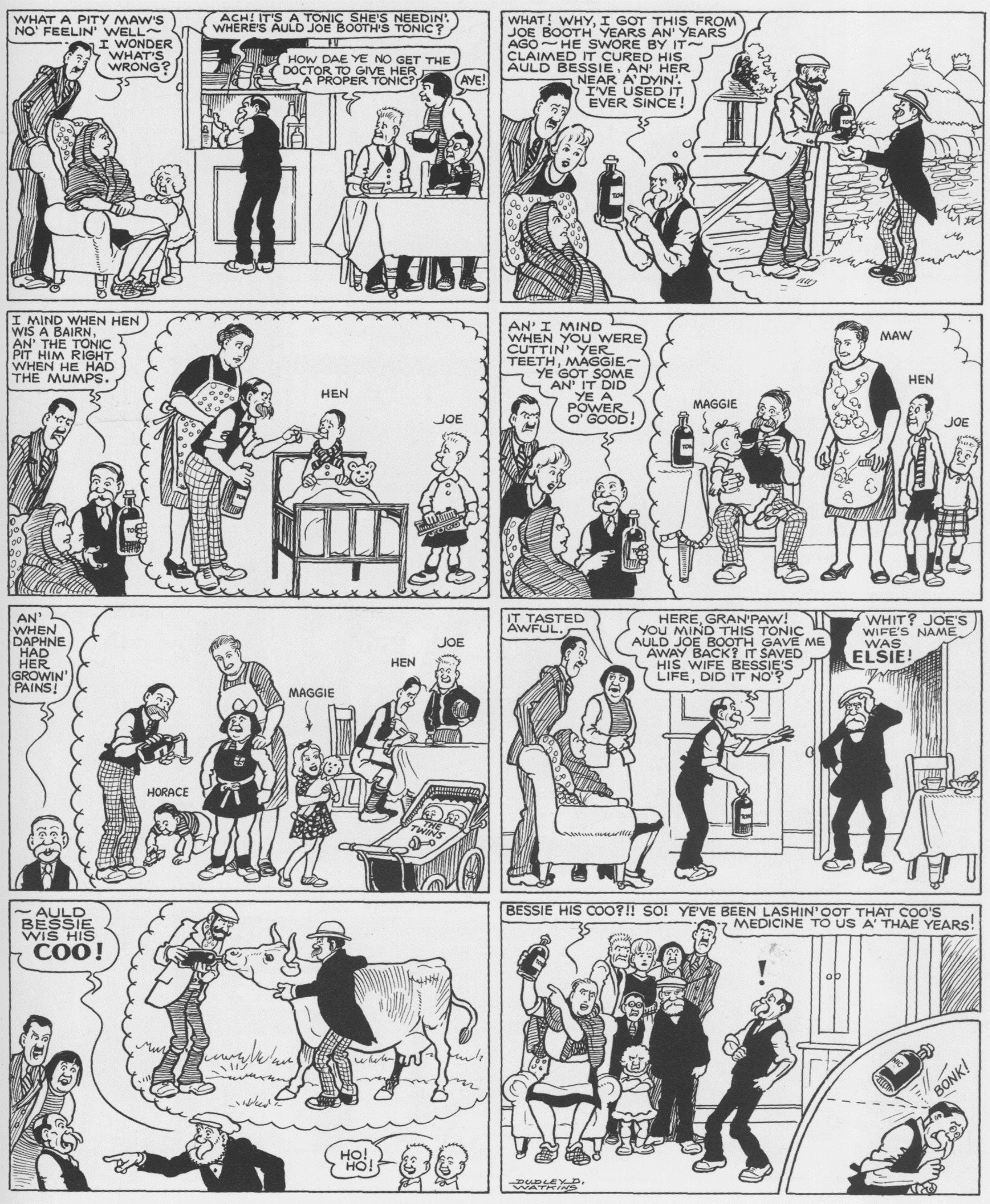 1954 Growing Up – we get a rare glimpse at young Broons through the ages in this strip, showing how they aged prior to 1936.