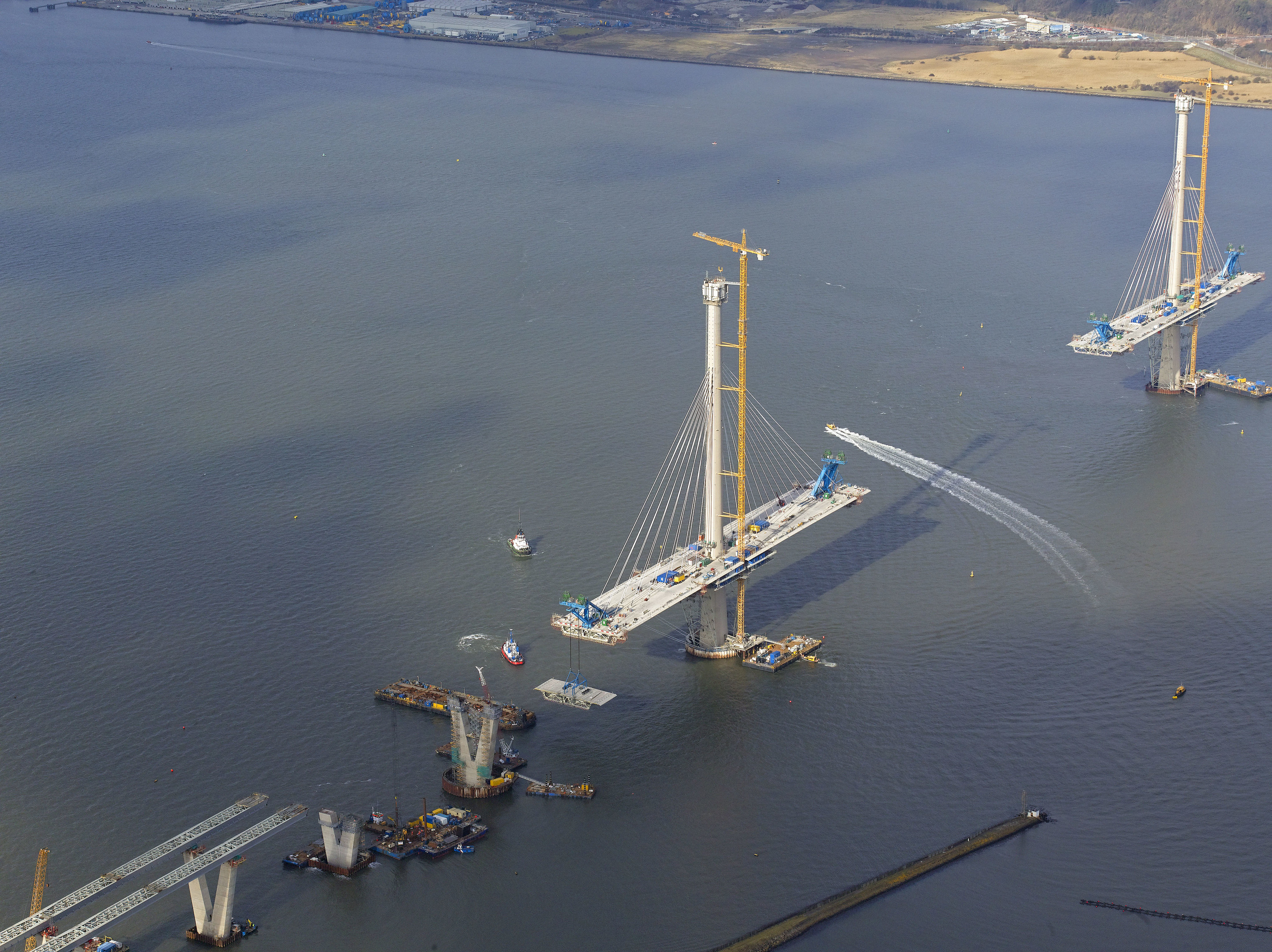 Deck Sections and Cables Installed on the South and Central Towers of the New Queensferry Crossing (Aerial Photography Solutions/Ken Whitcombe)