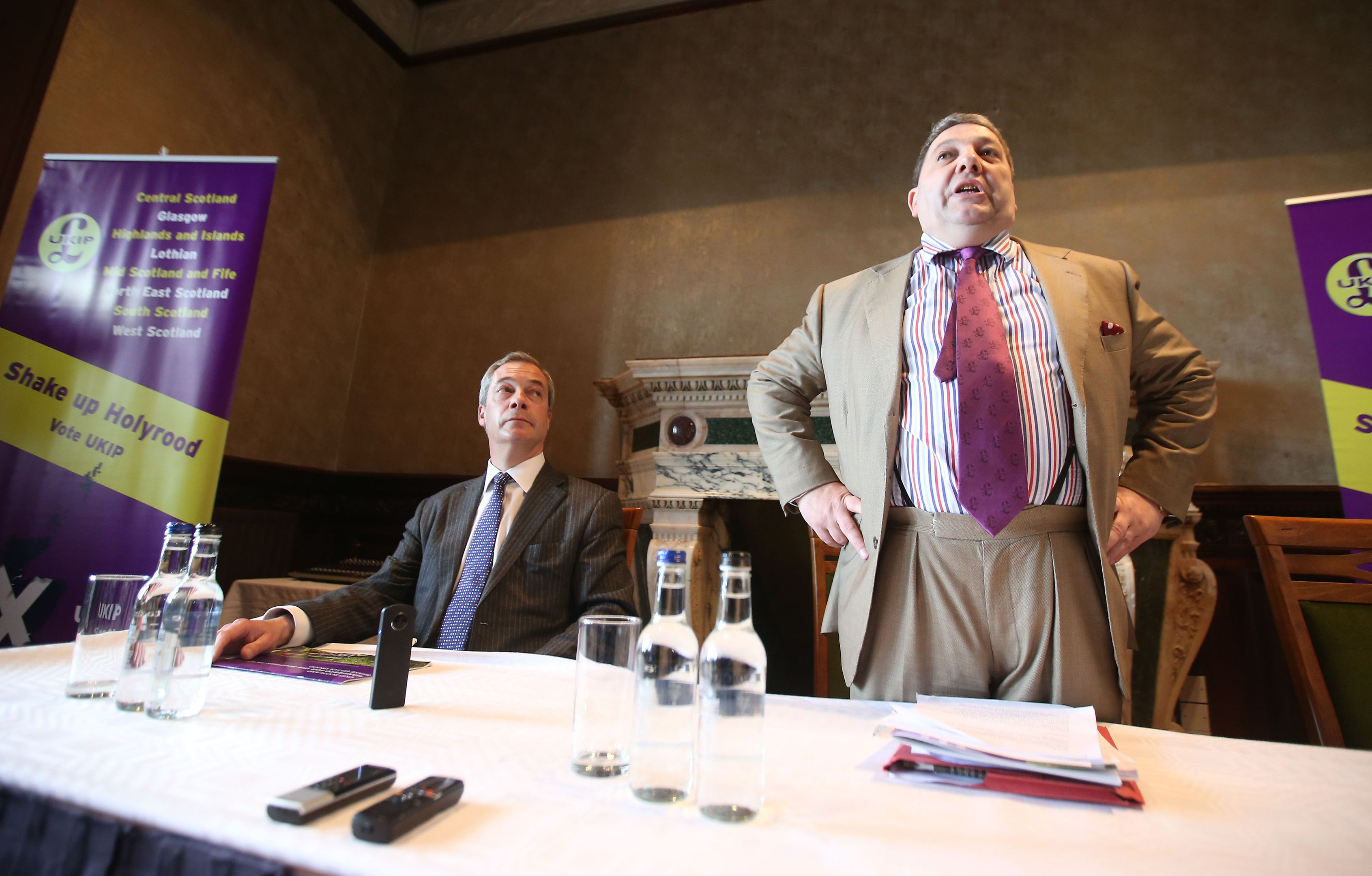 Nigel Farage (left) and David Coburn at the launch (Andrew Milligan/PA Wire)
