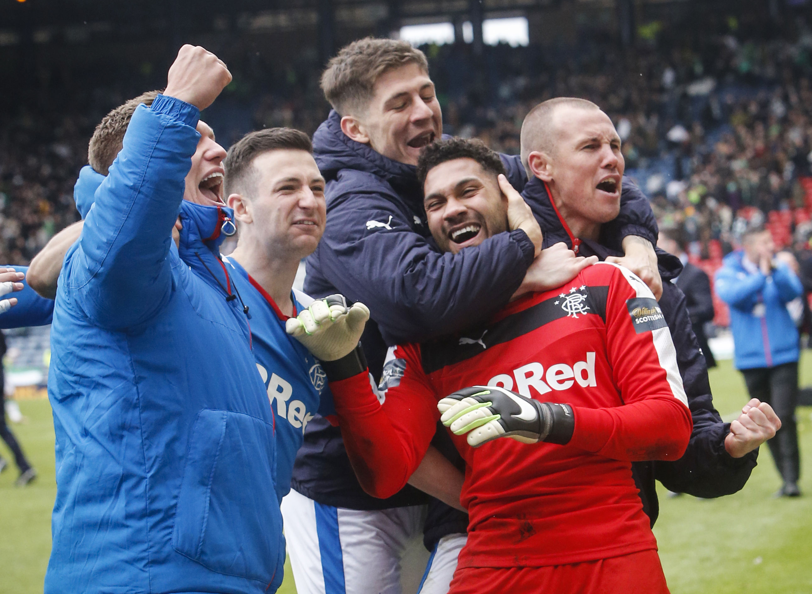 Rangers' goal keeper Wes Foderingham as he celebrates with team mates (Danny Lawson/PA Wire)