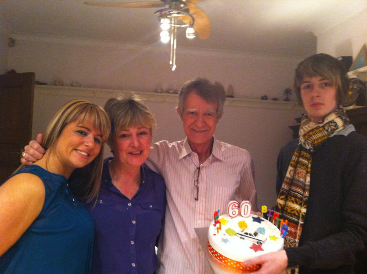 Double Lung recipient Campbell Wallace on his 60th birthday with daughter Kaye, wife Caro and son Daniel