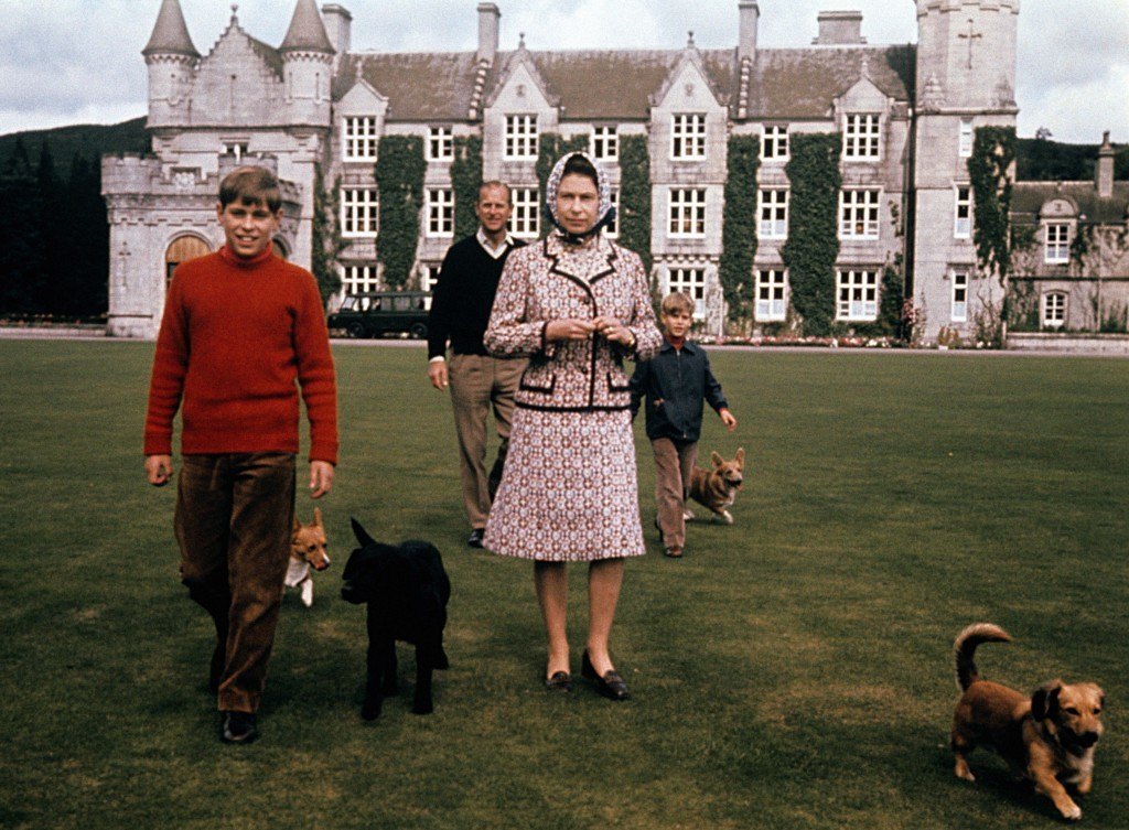 The future's orange: The Queen and her family, including assorted dogs, take a walk in the grounds of Balmoral. Prince Andrew's lovely orange polo-neck somewhat steals the show, mind you... (PA Archive)