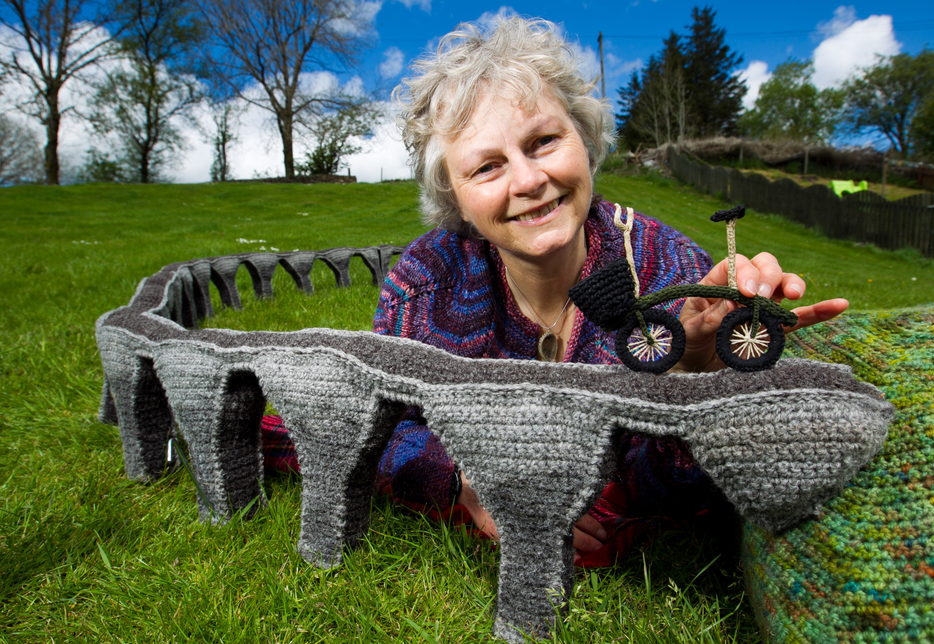 Janet Renouf, who has knitted a model of the Glenfinnan Viaduct bridge (Andrew Cawley/ Sunday Post)