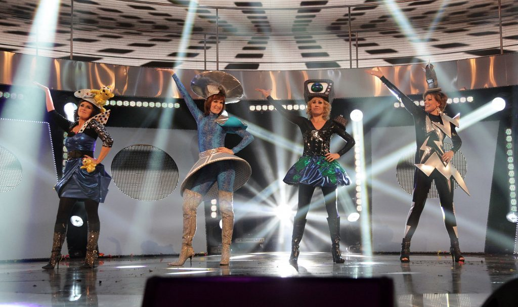 (Left to right) Susanna Reid, Fiona Bruce, Sophie Raworth and Kate Silverton dance for Children In Need, 2010 (BBC)
