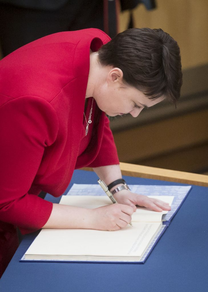 Scottish Conservative Party leader Ruth Davidson is sworn in (Danny Lawson/PA Wire)
